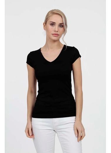 Vitrin V Yaka Likralı T-Shirt Siyah